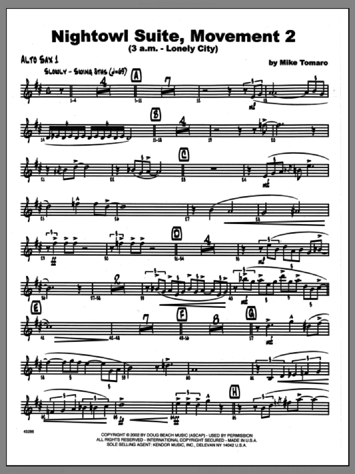 Nightowl Suite, Movement 2 (3 a.m., lonely city sheet music for jazz band (1st Eb alto saxophone) by Mike Tomaro. Score Image Preview.