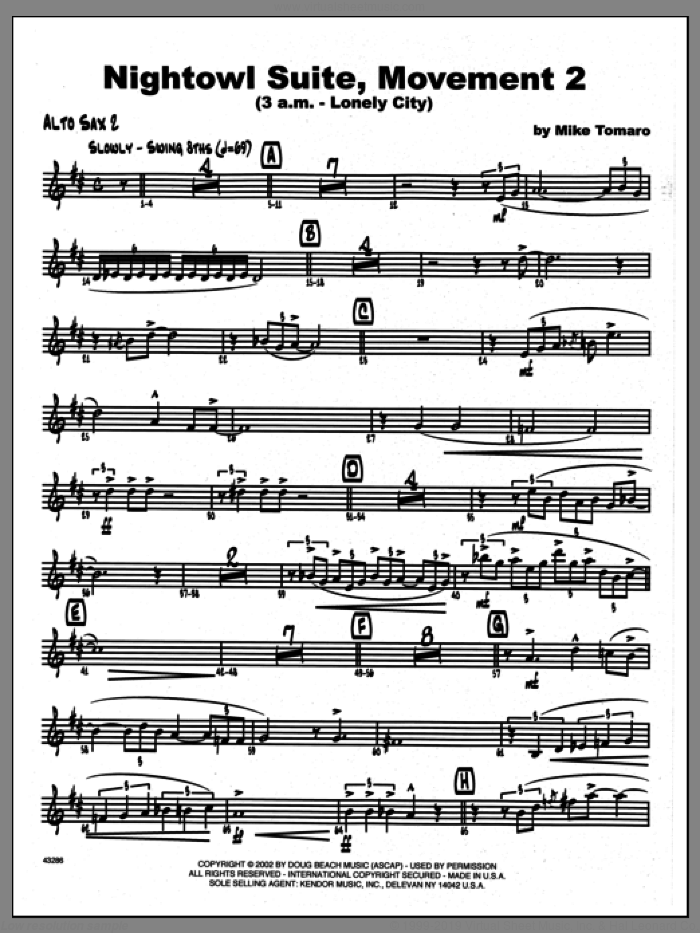 Nightowl Suite, Movement 2 (3 a.m., lonely city sheet music for jazz band (2nd Eb alto saxophone) by Mike Tomaro. Score Image Preview.