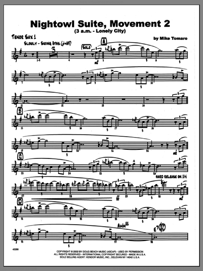 Nightowl Suite, Movement 2 (3 a.m., lonely city sheet music for jazz band (1st Bb tenor saxophone) by Mike Tomaro. Score Image Preview.