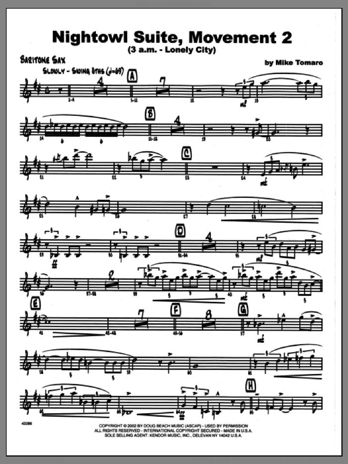 Nightowl Suite, Movement 2 (3 a.m., lonely city sheet music for jazz band (Eb baritone sax) by Mike Tomaro. Score Image Preview.