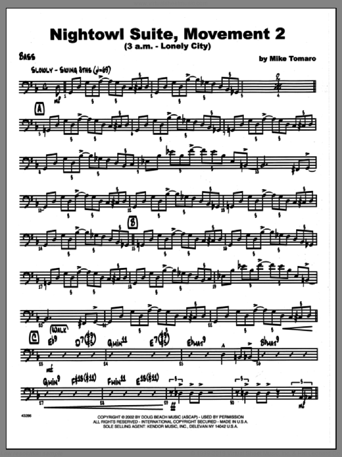 Nightowl Suite, Movement 2 (3 a.m., lonely city sheet music for jazz band (bass) by Mike Tomaro, intermediate