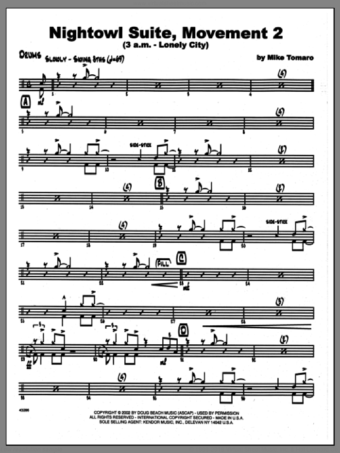 Nightowl Suite, Movement 2 (3 a.m., lonely city sheet music for jazz band (drums) by Mike Tomaro, intermediate skill level