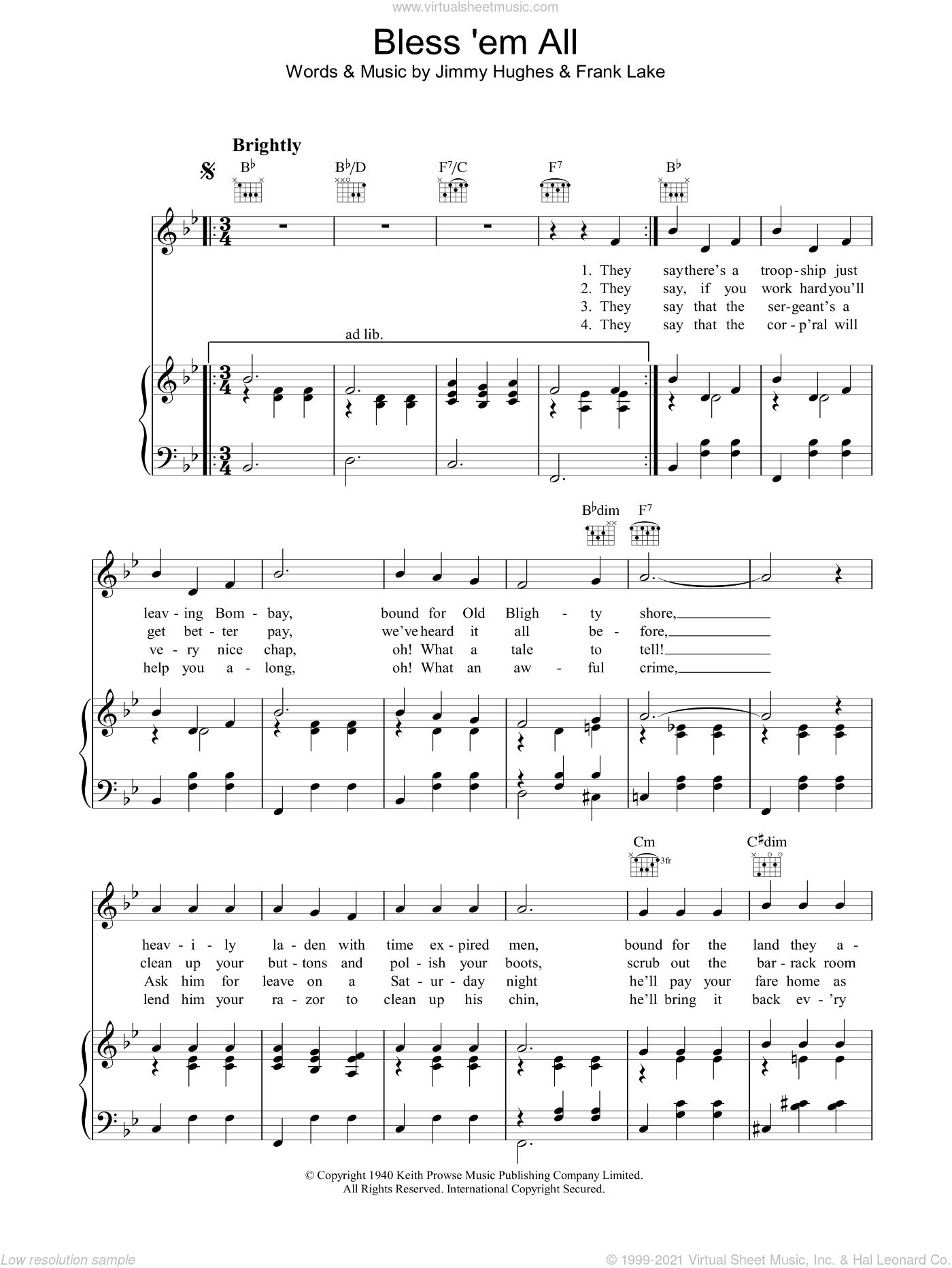 Bless 'Em All sheet music for voice, piano or guitar by Jimmy Hughes and Frank Lake, intermediate skill level
