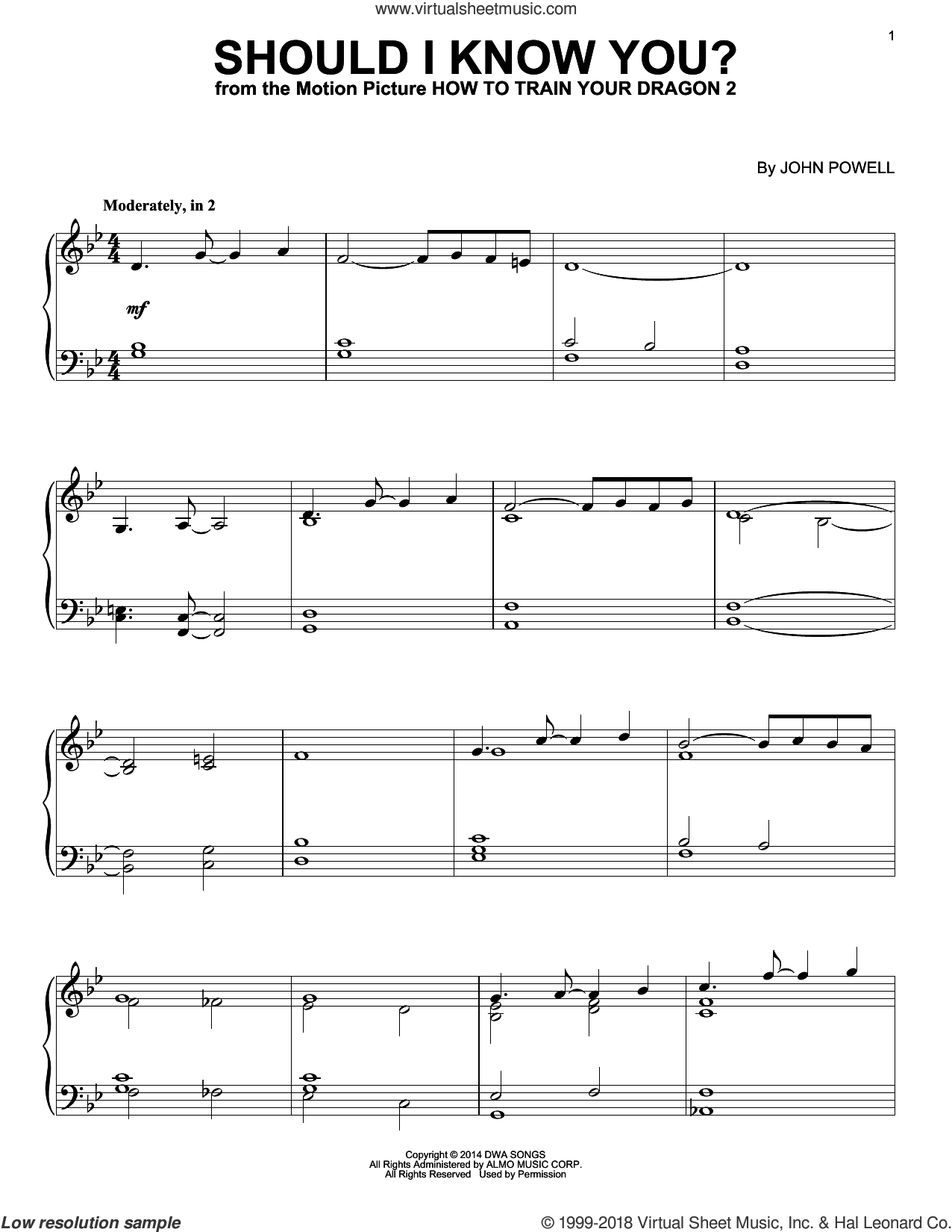 Should I Know You? (from How to Train Your Dragon) sheet music for piano solo by John Powell, intermediate skill level