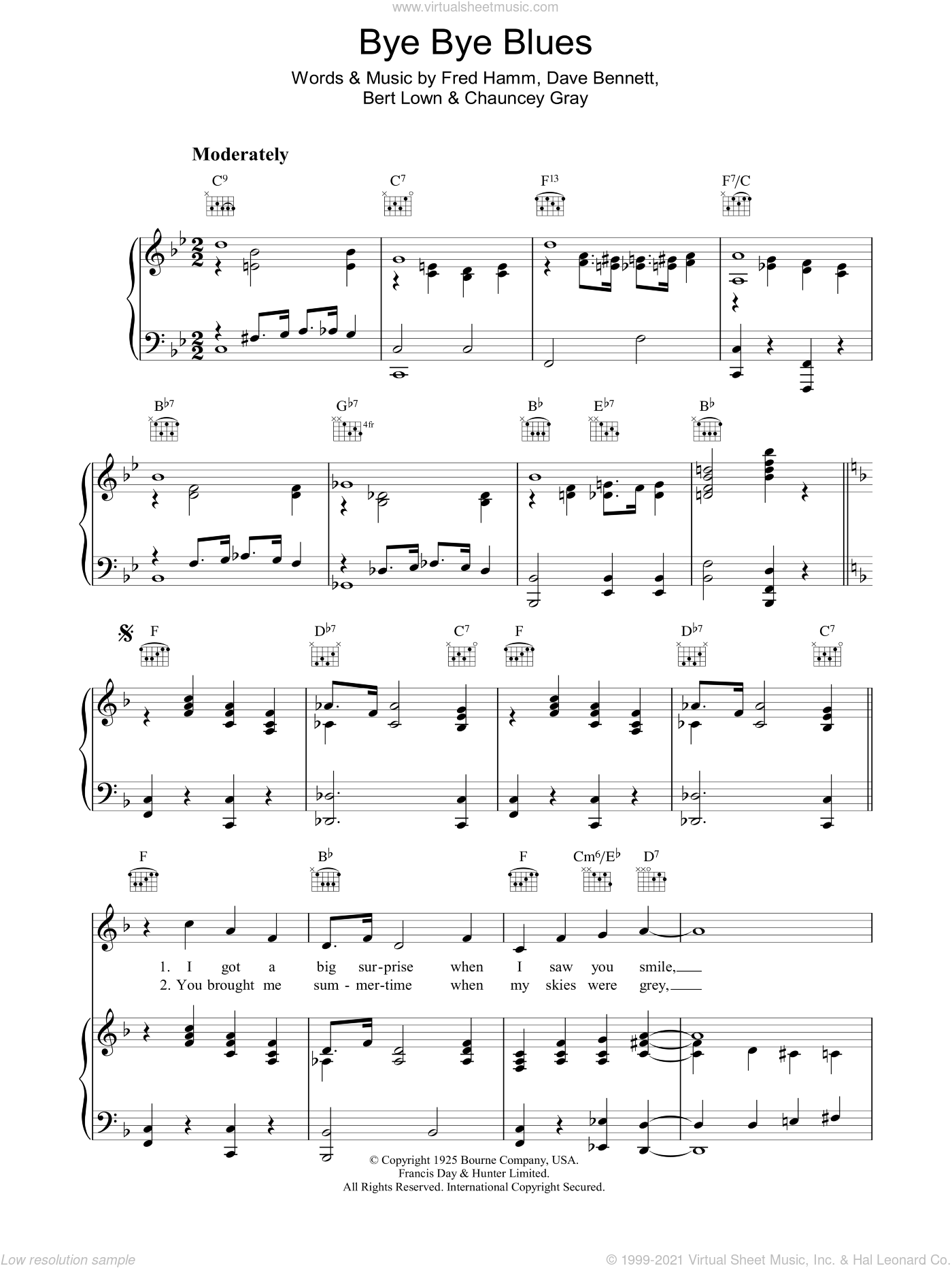 Bye Bye Blues sheet music for voice, piano or guitar by David Bennett and Fred Hamm. Score Image Preview.