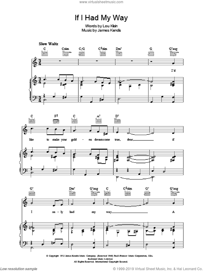 If I Had My Way sheet music for voice, piano or guitar by Lou Klein and James Kendis, intermediate. Score Image Preview.