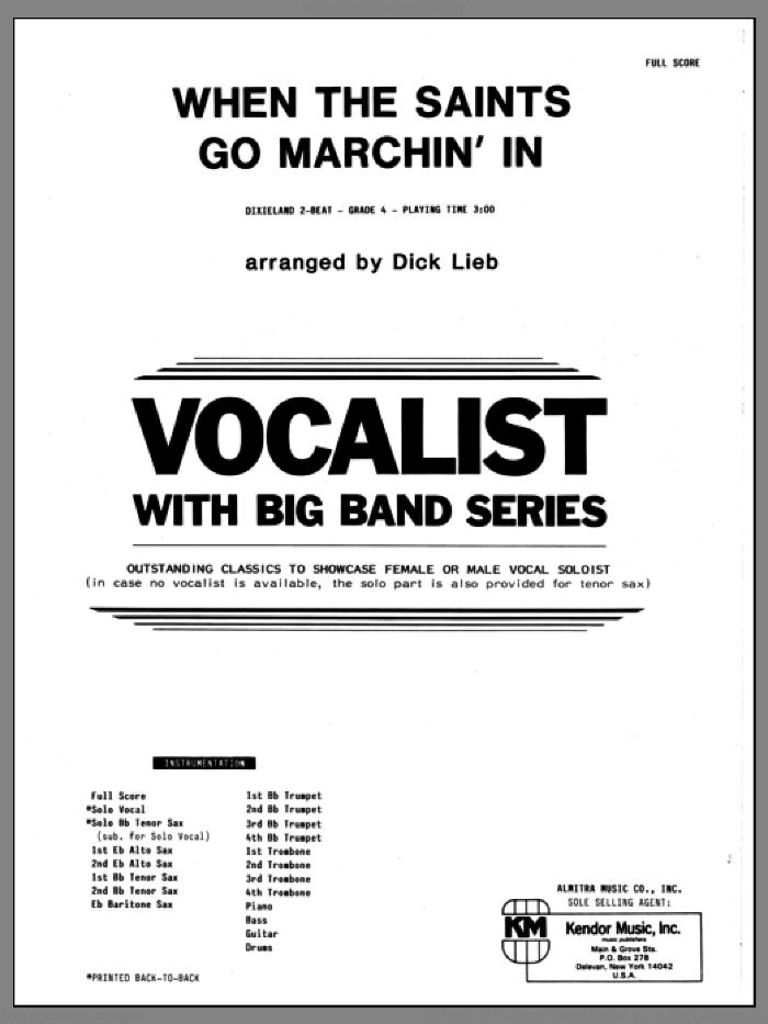When the Saints Go Marching In (COMPLETE) sheet music for jazz band by Dick Lieb, intermediate. Score Image Preview.