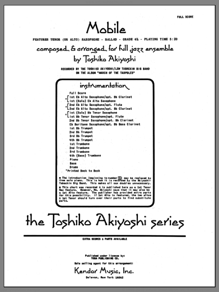 Mobile (COMPLETE) sheet music for jazz band by Toshiko Akiyoshi, intermediate skill level