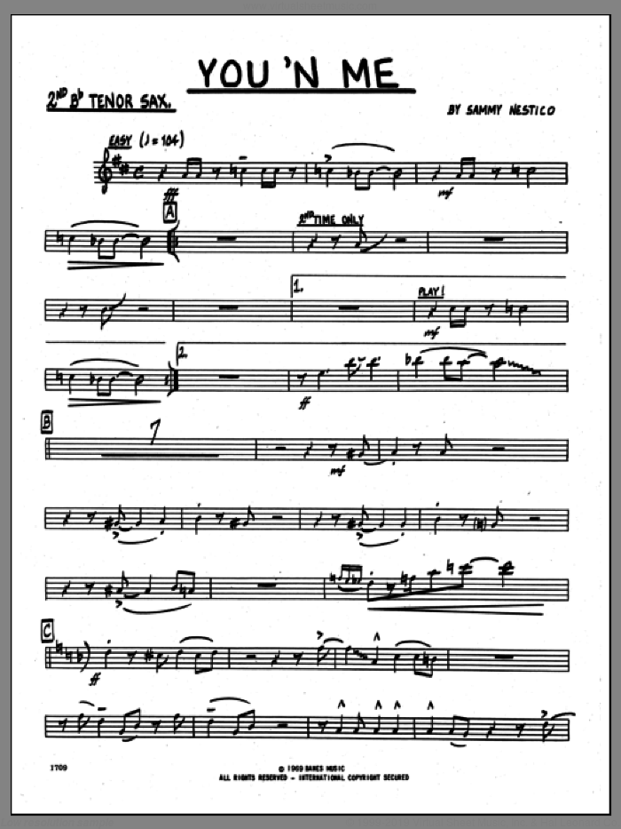 You 'N Me (complete set of parts) sheet music for jazz band by Sammy Nestico, intermediate skill level