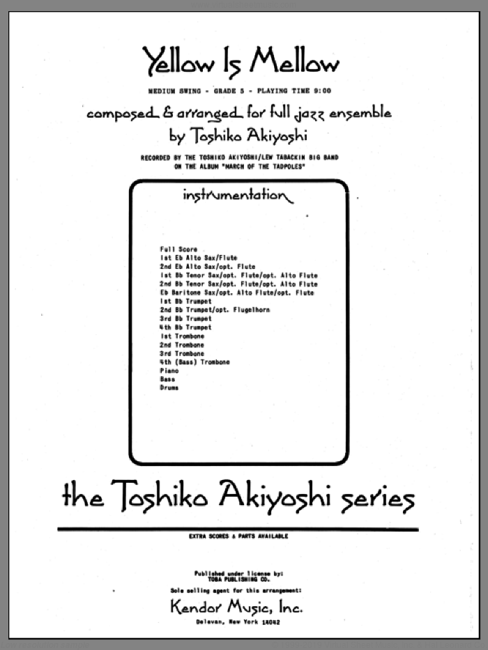 Yellow Is Mellow (COMPLETE) sheet music for jazz band by Toshiko Akiyoshi, intermediate skill level