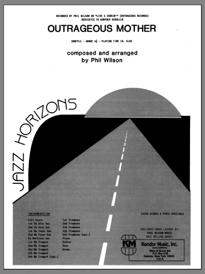 Outrageous Mother (COMPLETE) sheet music for jazz band by Phil Wilson, intermediate jazz band. Score Image Preview.