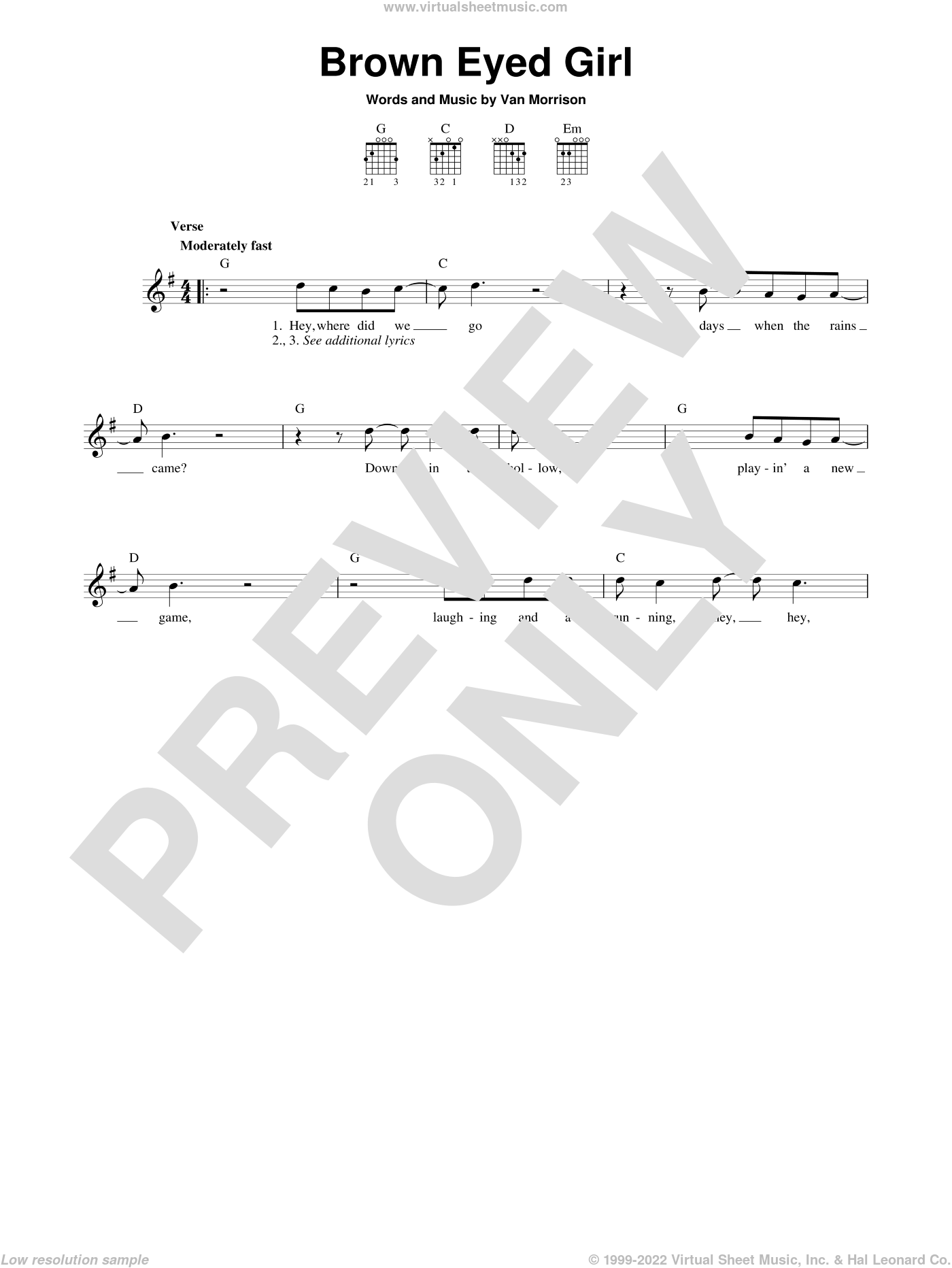 Brown Eyed Girl sheet music for guitar solo (chords) by Van Morrison. Score Image Preview.