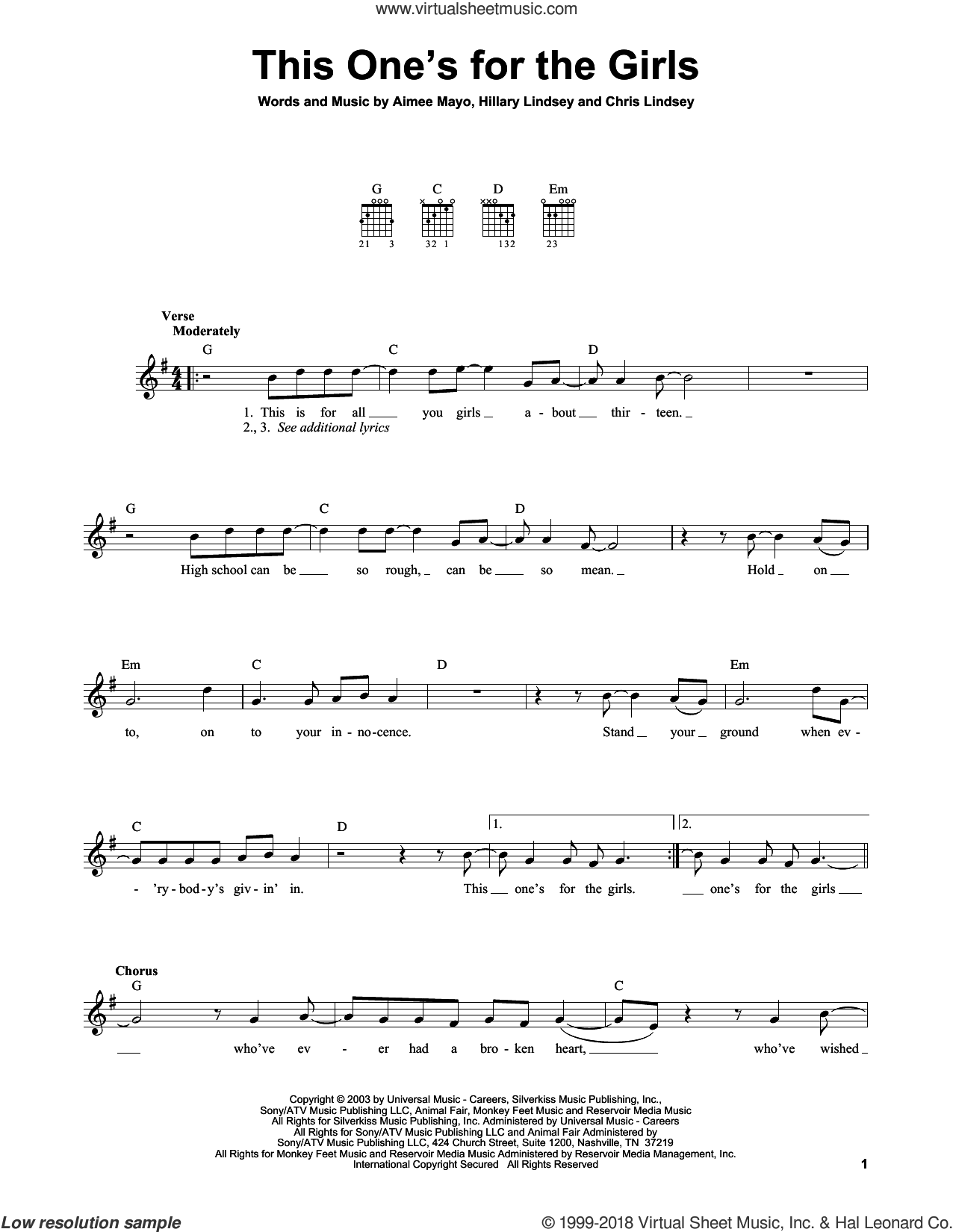 This One's For The Girls sheet music for guitar solo (chords) by Martina McBride, Aimee Mayo, Chris Lindsey and Hillary Lindsey, easy guitar (chords). Score Image Preview.