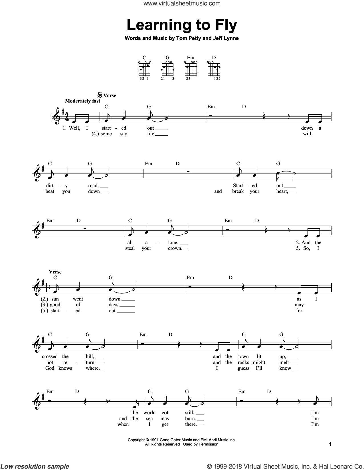 Learning To Fly sheet music for guitar solo (chords) by Tom Petty and Jeff Lynne. Score Image Preview.
