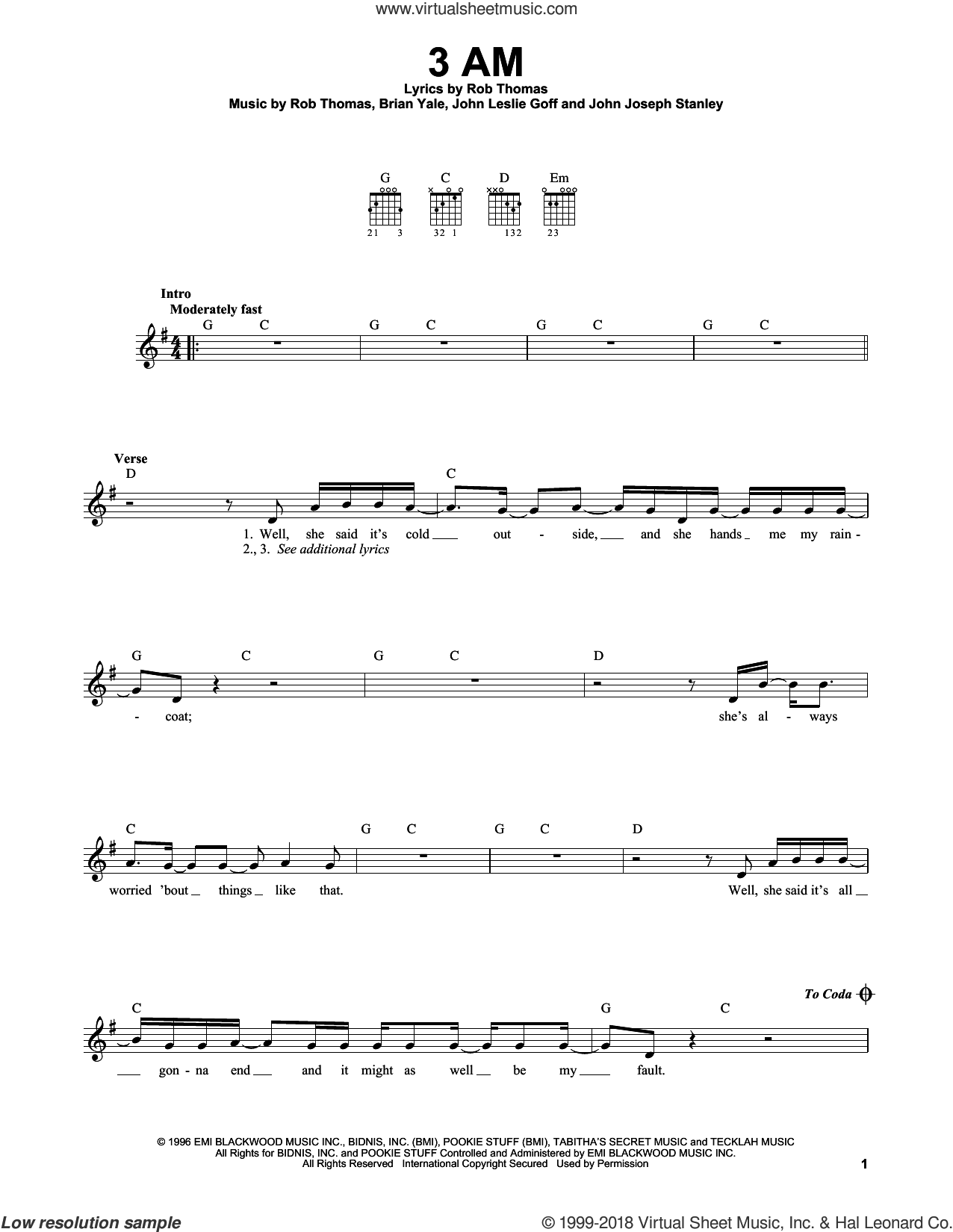 3 AM sheet music for guitar solo (chords) by Rob Thomas and Brian Yale. Score Image Preview.