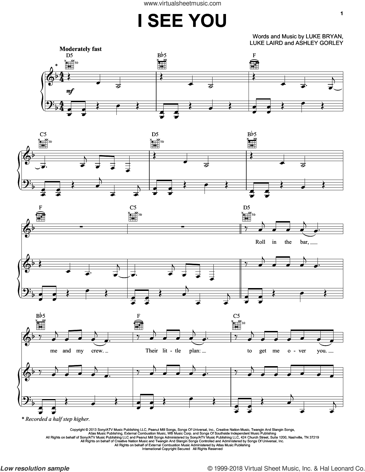 I See You sheet music for voice, piano or guitar by Luke Bryan, Ashley Gorley and Luke Laird, intermediate voice, piano or guitar. Score Image Preview.