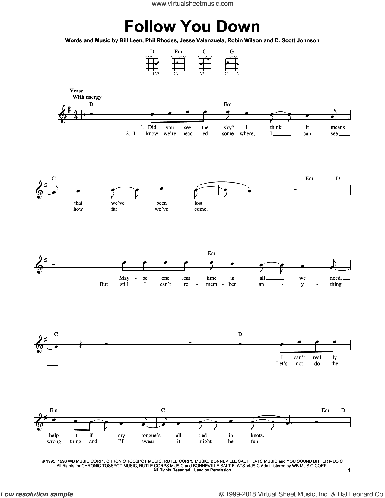 Follow You Down sheet music for guitar solo (chords) by Gin Blossoms, Bill Leen, D. Scott Johnson, Jesse Valenzuela, Phil Rhodes and Robin Wilson, easy guitar (chords)