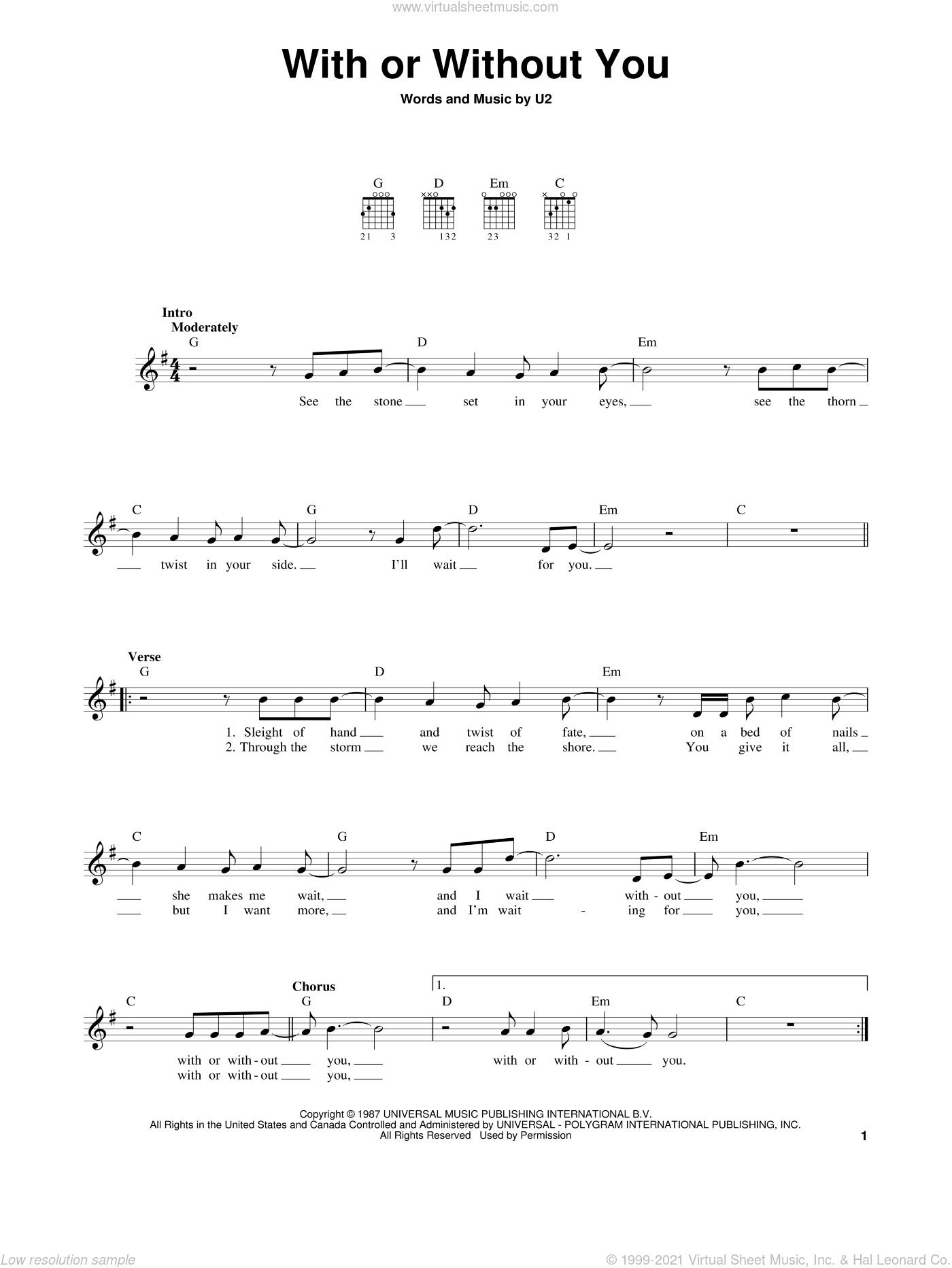 With Or Without You sheet music for guitar solo (chords) by U2, easy guitar (chords)