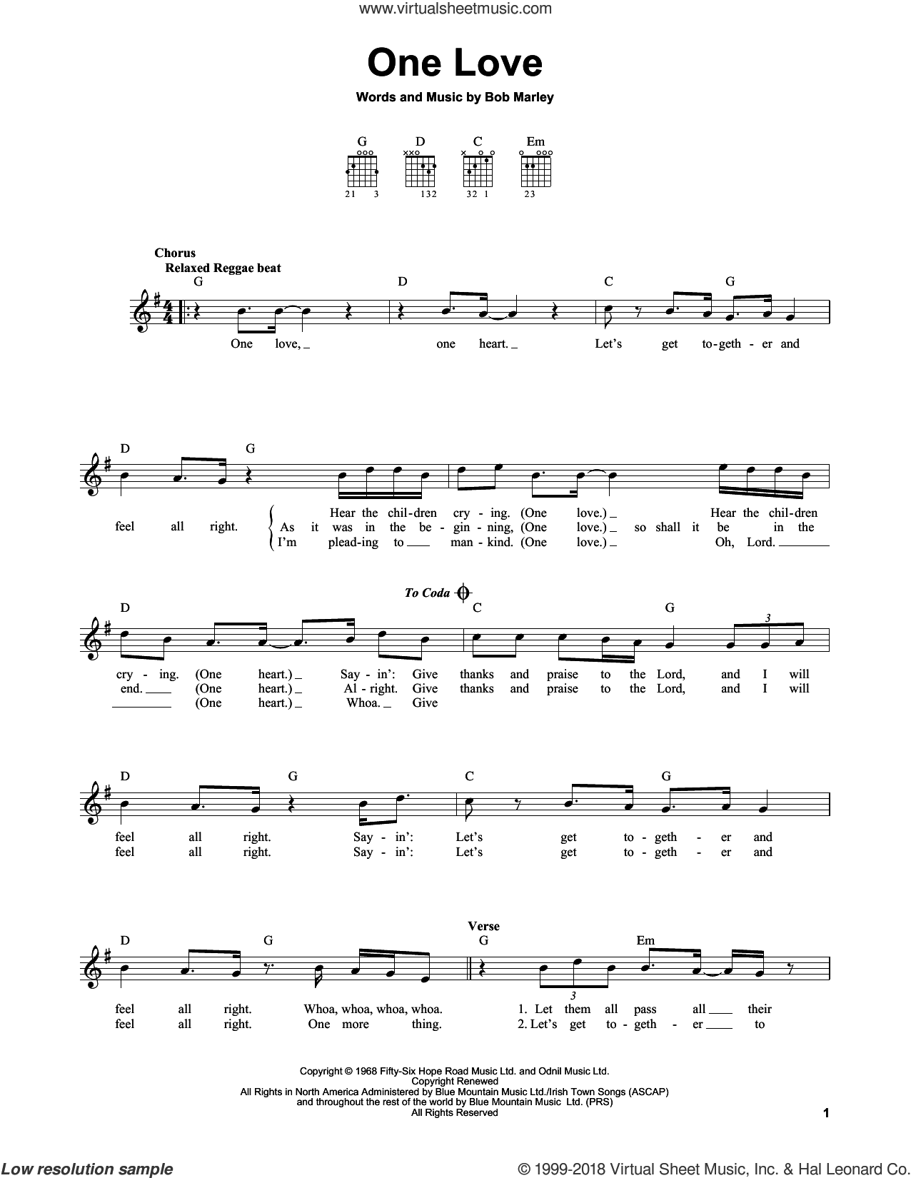 One Love sheet music for guitar solo (chords) by Bob Marley, easy guitar (chords)