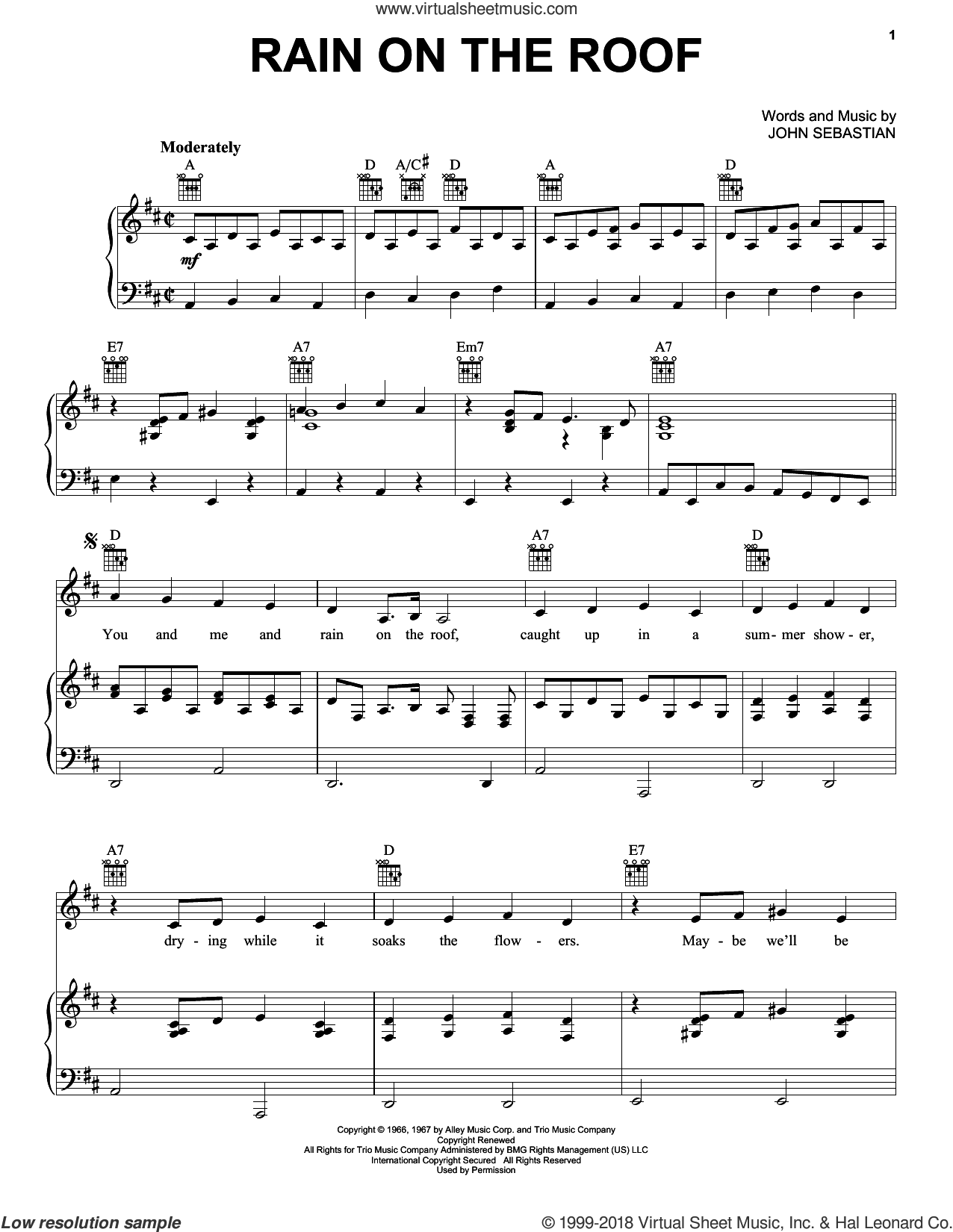 Rain On The Roof sheet music for voice, piano or guitar by Lovin' Spoonful and John Sebastian, intermediate skill level