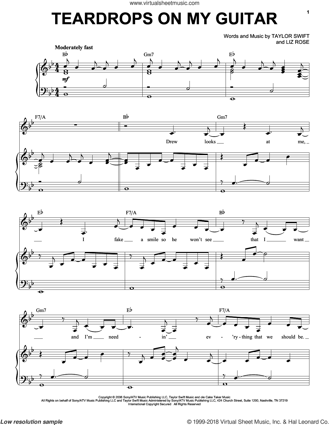 Teardrops On My Guitar sheet music for voice and piano by Liz Rose and Taylor Swift. Score Image Preview.