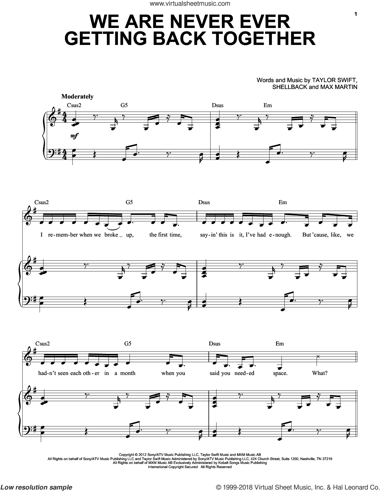 We Are Never Ever Getting Back Together sheet music for voice and piano by Shellback, Max Martin and Taylor Swift. Score Image Preview.