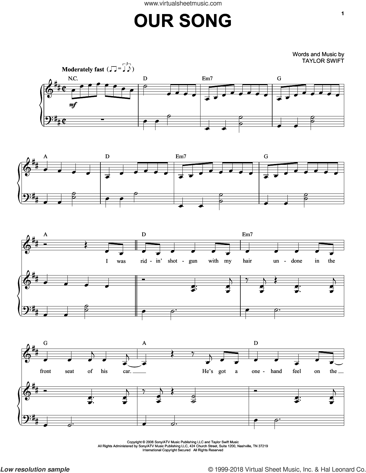 Our Song sheet music for voice and piano by Taylor Swift. Score Image Preview.