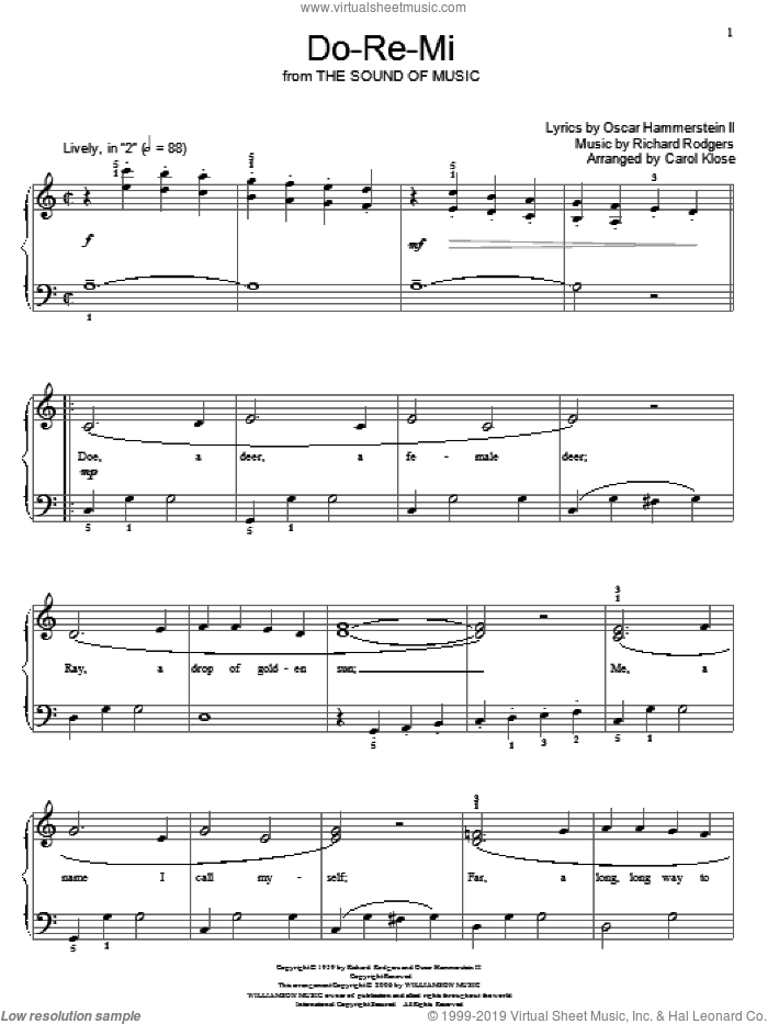 Do-Re-Mi sheet music for piano solo (elementary) by Rodgers & Hammerstein, Carol Klose, Miscellaneous, Oscar II Hammerstein and Richard Rodgers, beginner piano (elementary). Score Image Preview.