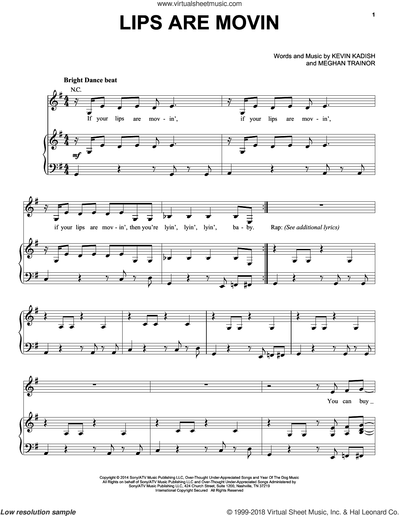 Lips Are Movin sheet music for voice, piano or guitar by Meghan Trainor and Kevin Kadish, intermediate voice, piano or guitar. Score Image Preview.