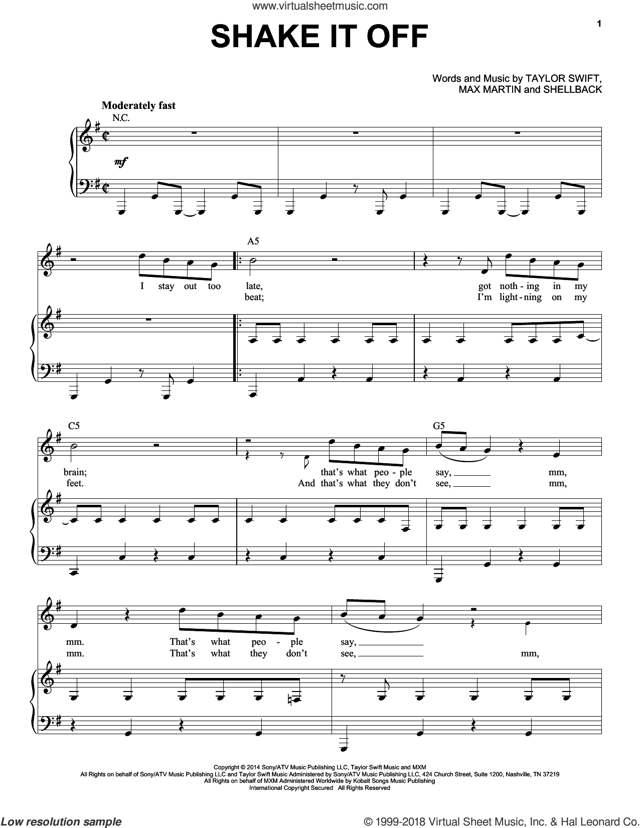 Shake It Off sheet music for voice and piano by Taylor Swift, Johan Schuster, Max Martin and Shellback, intermediate skill level