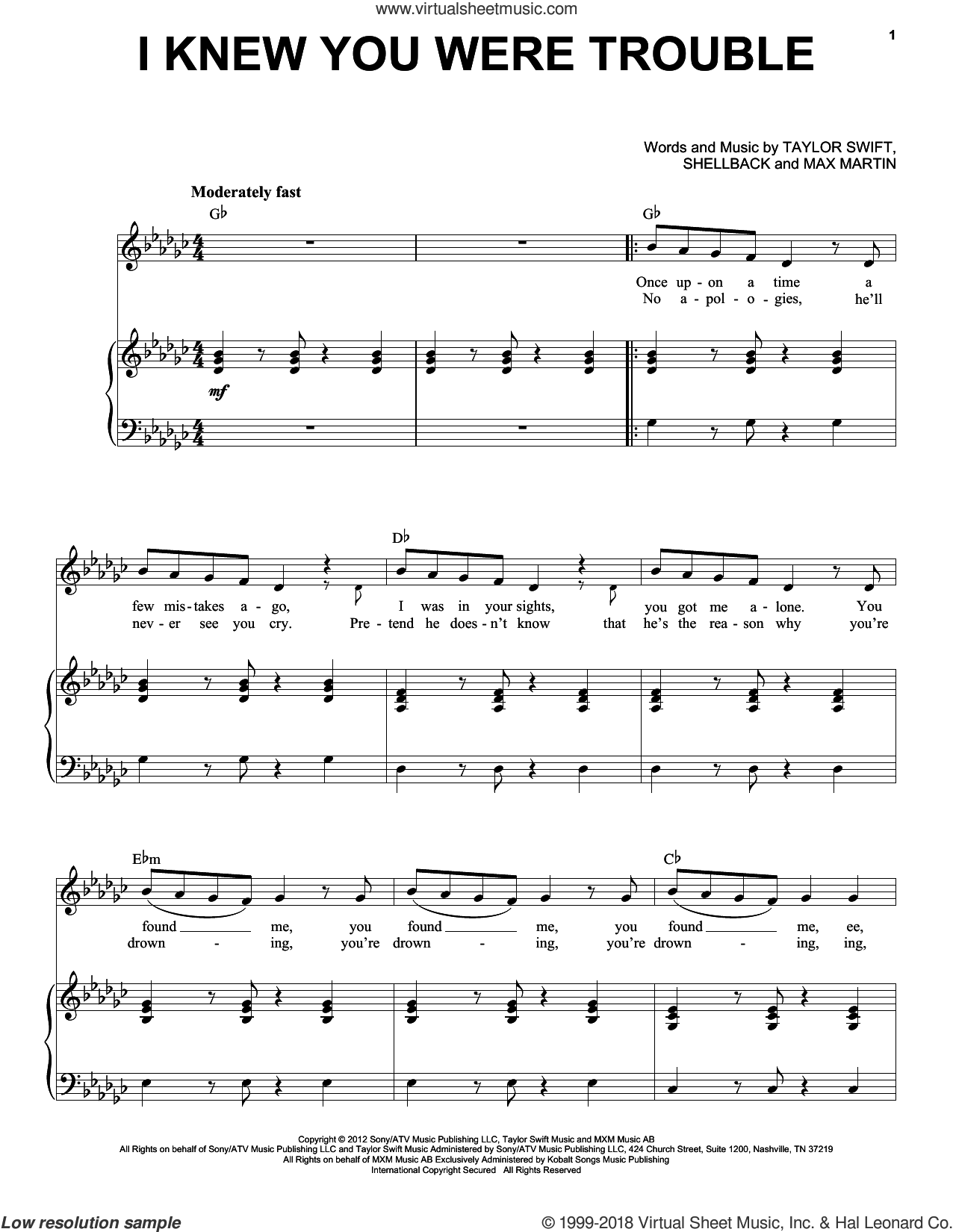 I Knew You Were Trouble sheet music for voice and piano by Taylor Swift, Max Martin and Shellback, intermediate skill level