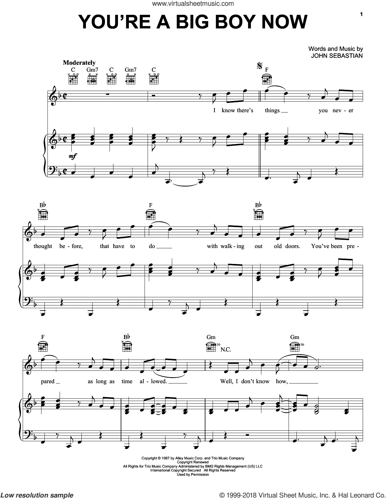 You're A Big Boy Now sheet music for voice, piano or guitar by Lovin' Spoonful and John Sebastian, intermediate skill level