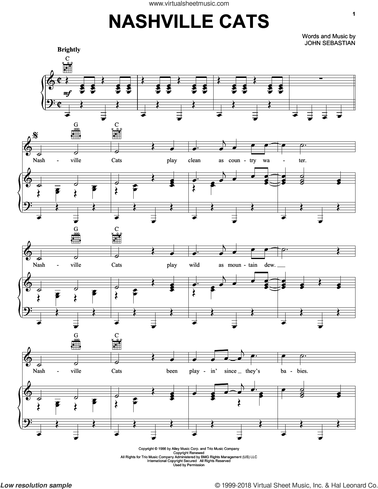 Nashville Cats sheet music for voice, piano or guitar by Lovin' Spoonful and John Sebastian, intermediate skill level