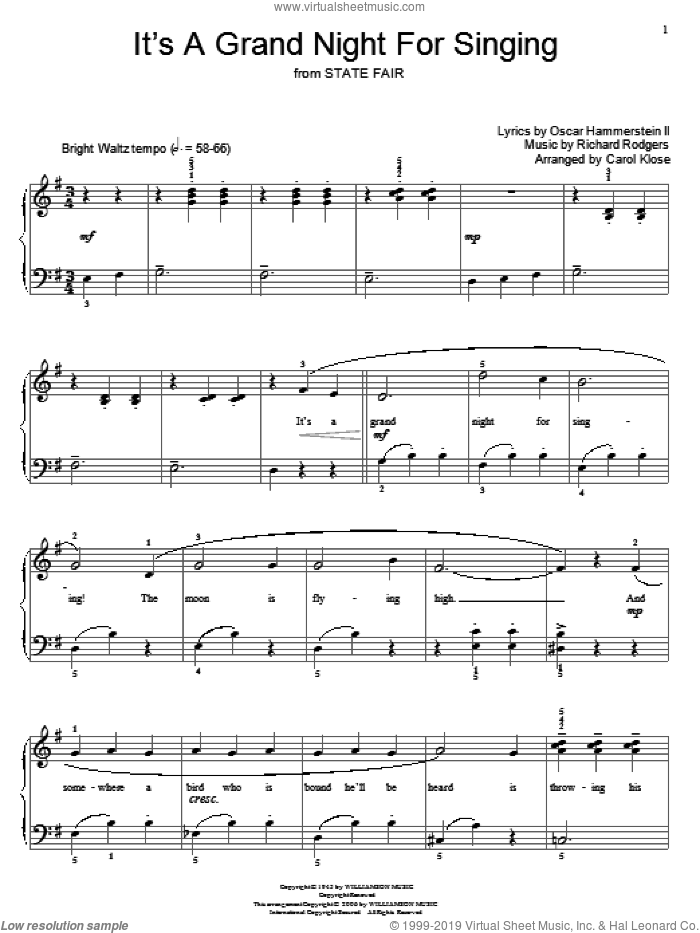 It's A Grand Night For Singing sheet music for piano solo (elementary) by Rodgers & Hammerstein, Carol Klose, Miscellaneous, Oscar II Hammerstein and Richard Rodgers, beginner piano (elementary). Score Image Preview.