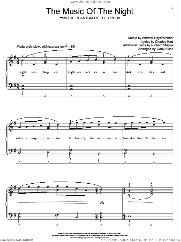 The Music Of The Night (from The Phantom Of The Opera) sheet music for piano solo (elementary) by Andrew Lloyd Webber, Carol Klose, Miscellaneous, The Phantom Of The Opera (Musical), Charles Hart and Richard Stilgoe, beginner piano (elementary)