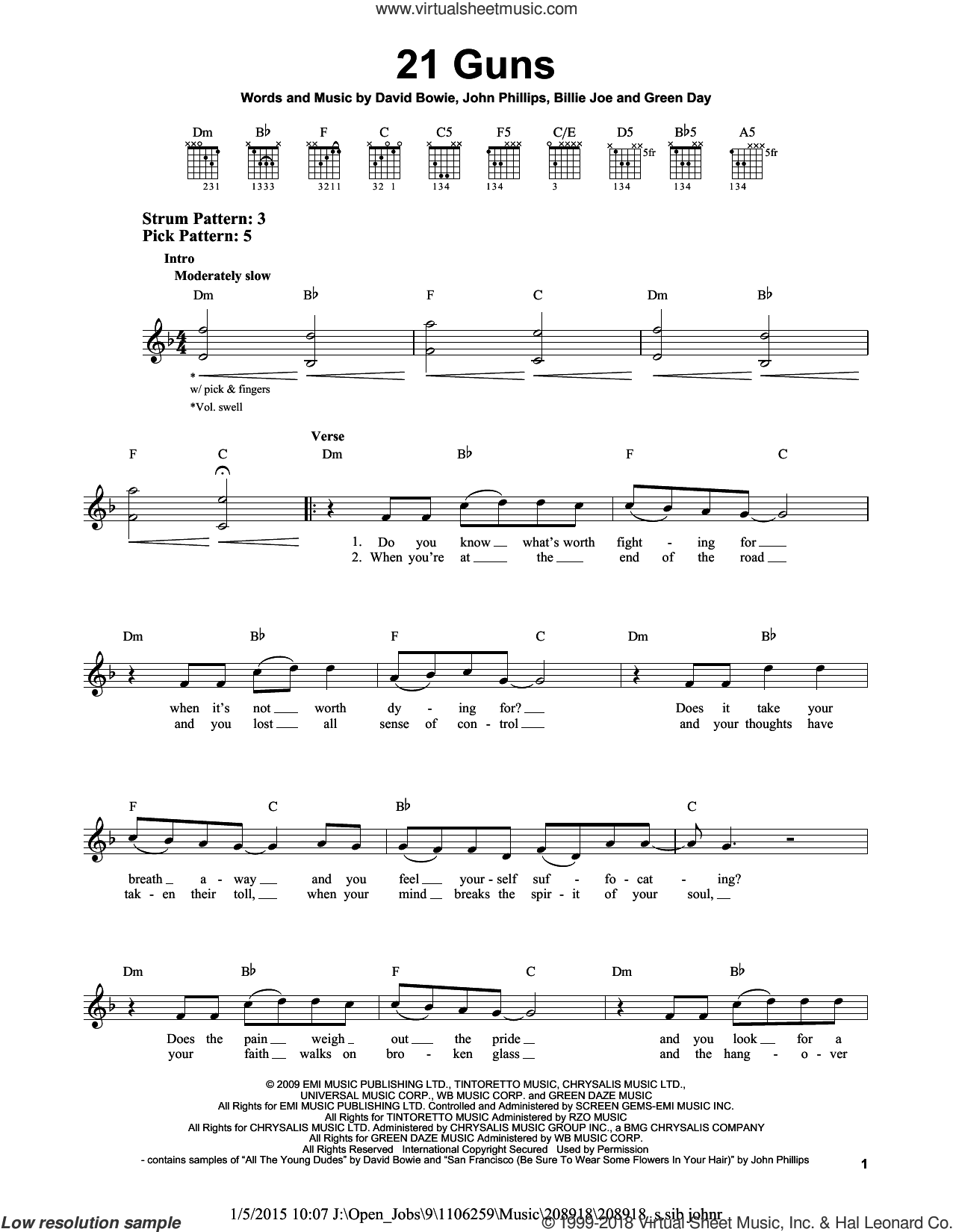 21 Guns sheet music for guitar solo (chords) by Green Day, Billie Joe, David Bowie and John Phillips, easy guitar (chords)