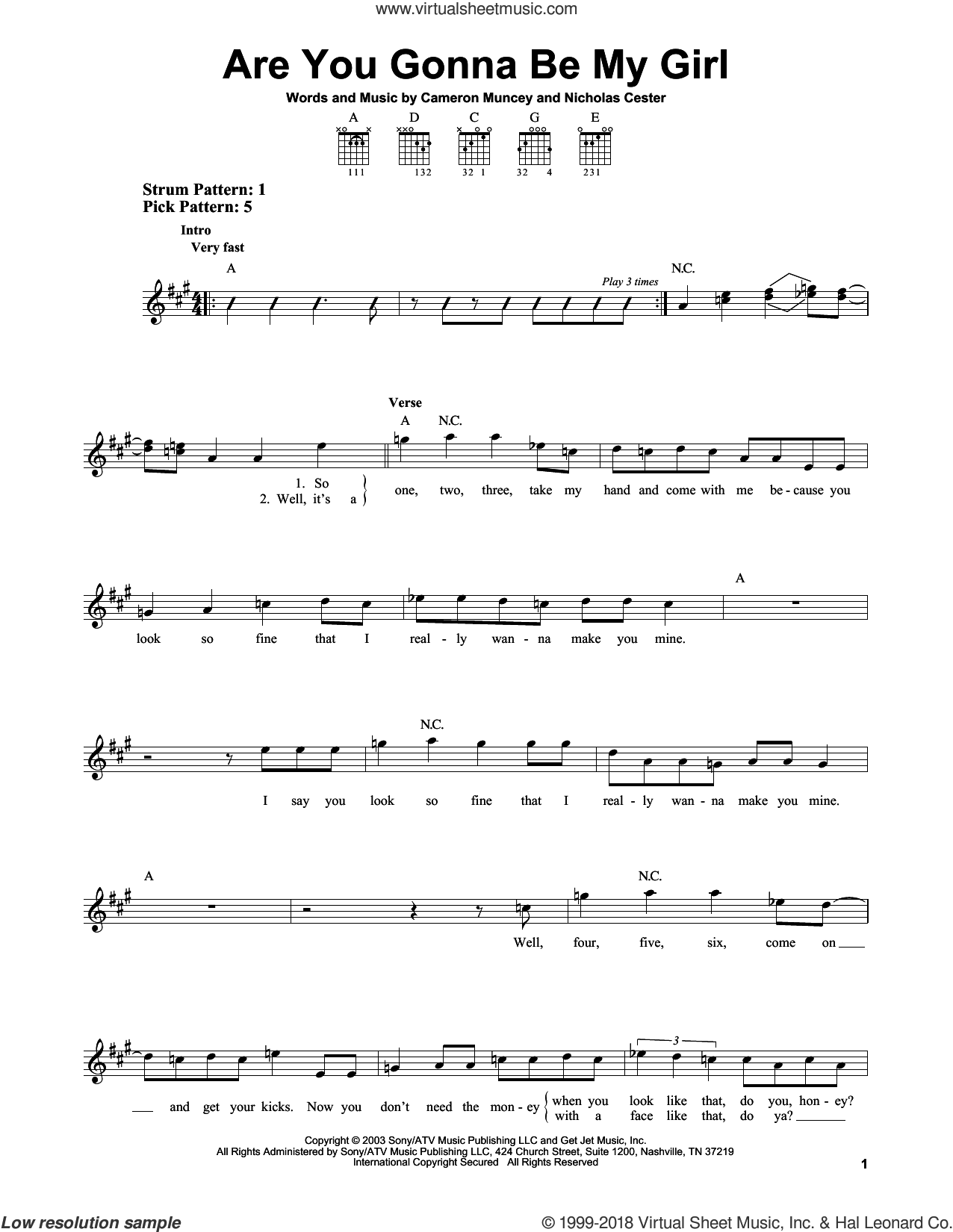 Are You Gonna Be My Girl sheet music for guitar solo (chords) by Nic Cester and Cameron Muncey, easy guitar (chords)