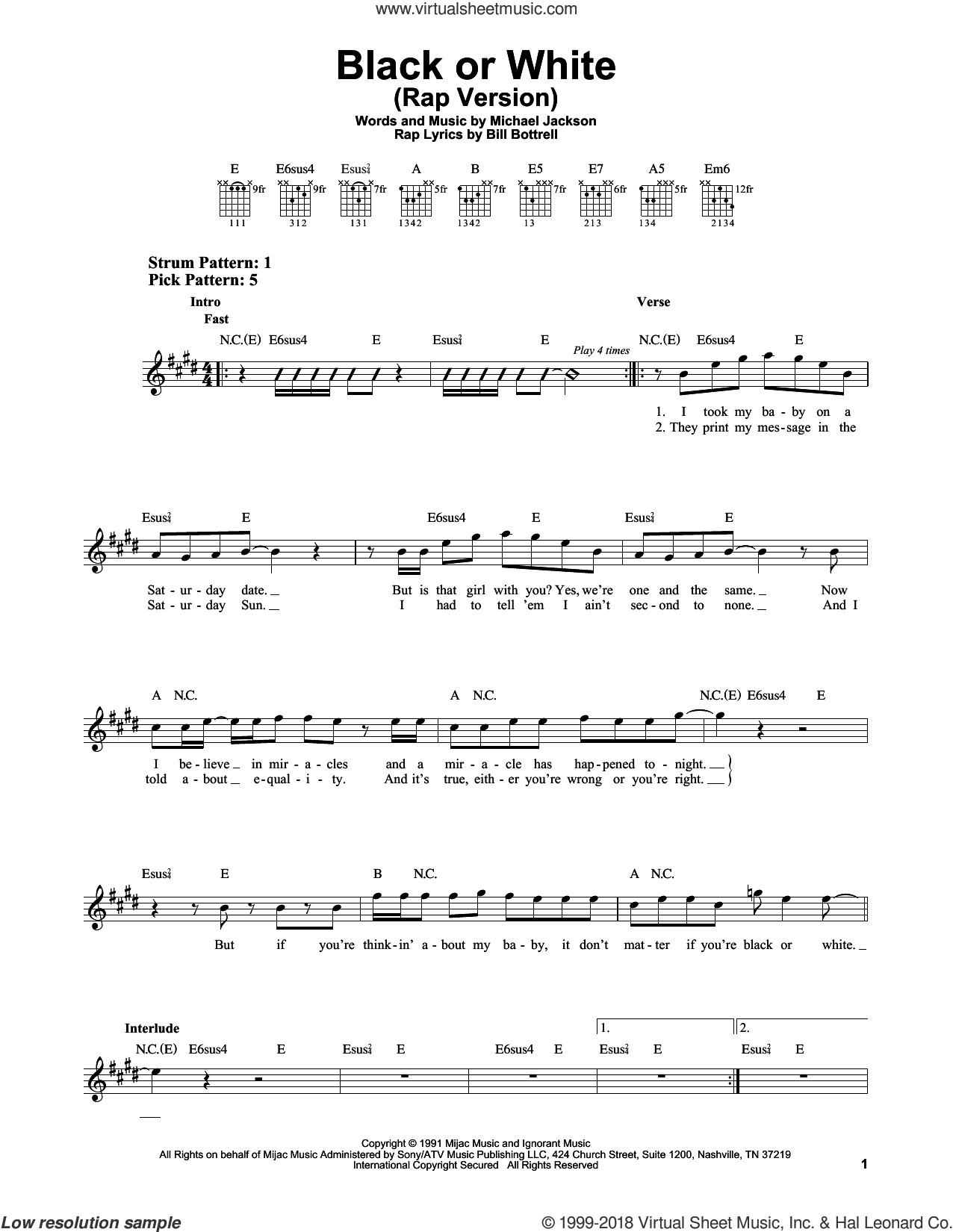 Black Or White sheet music for guitar solo (chords) by Michael Jackson and Glee Cast, easy guitar (chords)