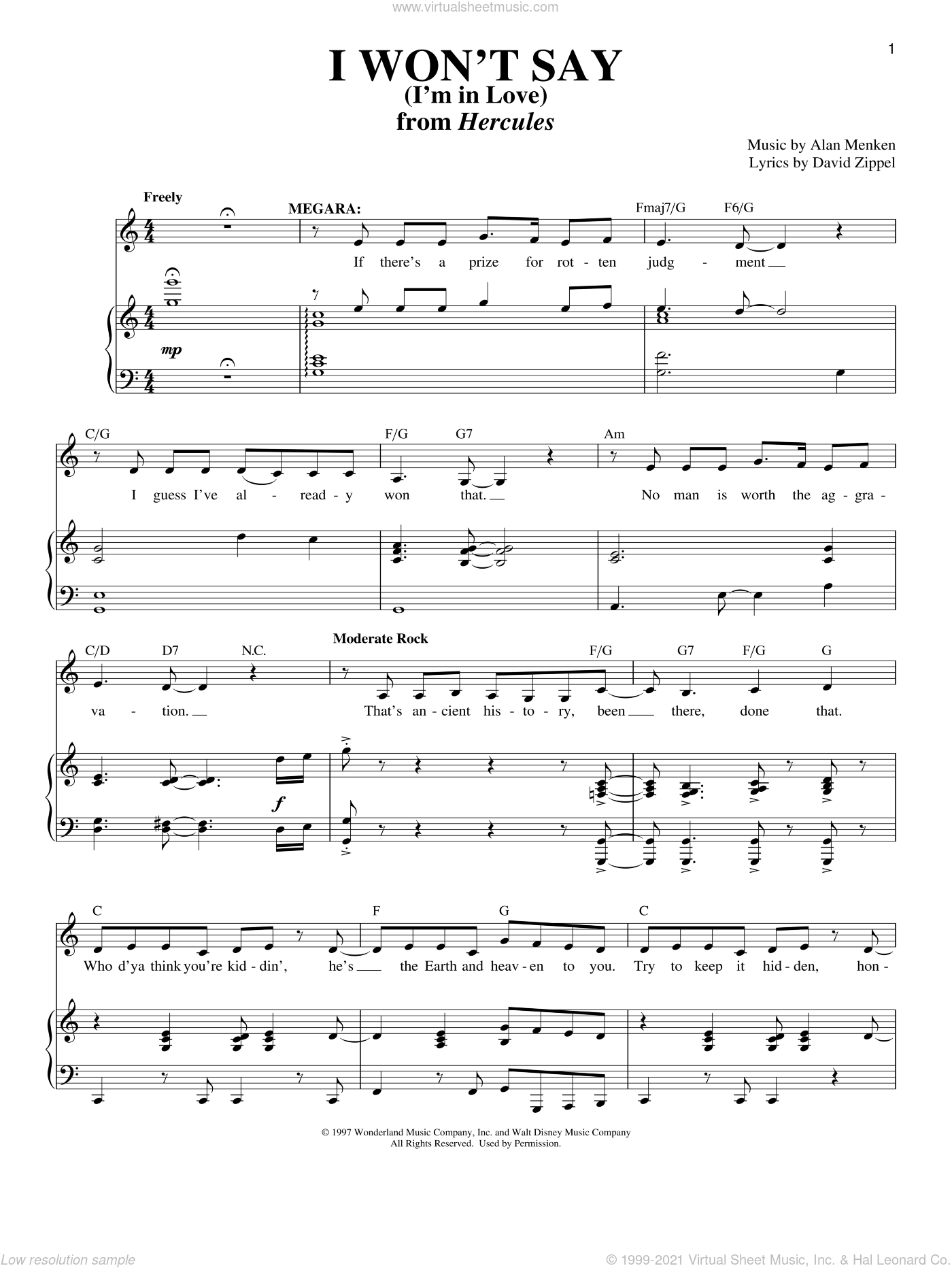 I Won't Say (I'm In Love) sheet music for voice and piano by David Zippel, Richard Walters and Alan Menken. Score Image Preview.