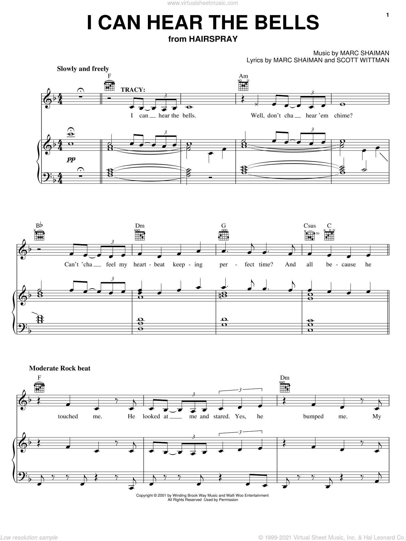 I Can Hear The Bells sheet music for voice, piano or guitar by Marc Shaiman, Hairspray (Musical) and Scott Wittman, intermediate skill level