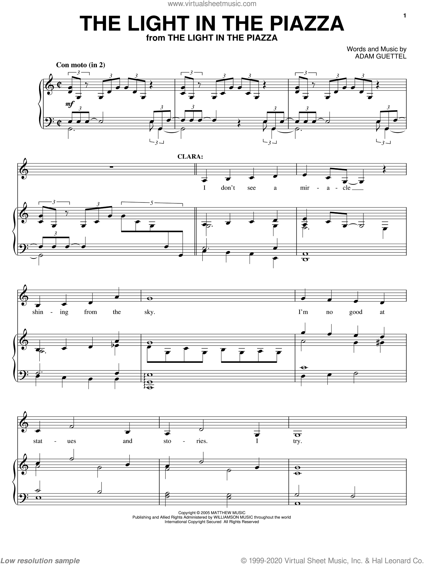The Light In The Piazza sheet music for voice, piano or guitar by Adam Guettel. Score Image Preview.