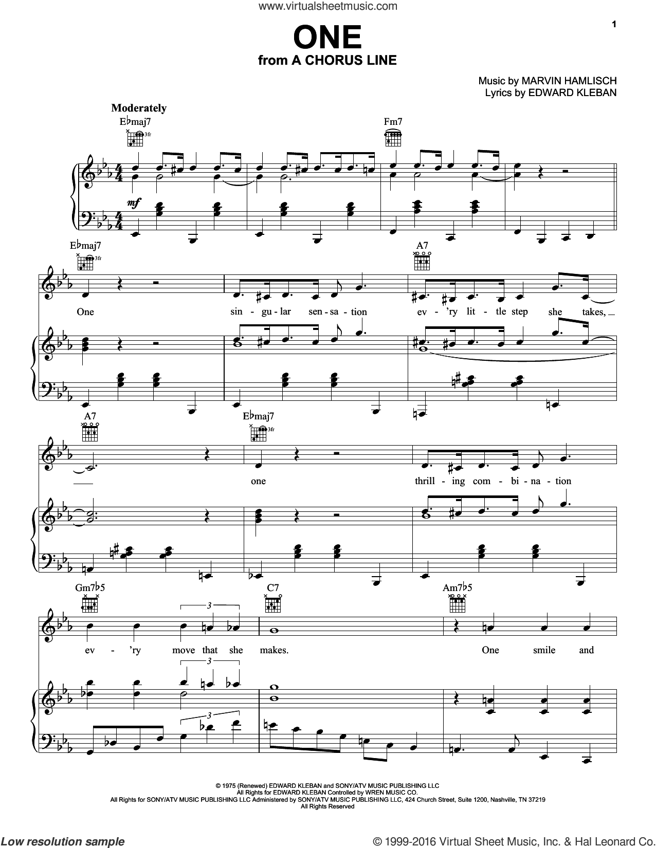 One sheet music for voice, piano or guitar by Edward Kleban and Marvin Hamlisch. Score Image Preview.