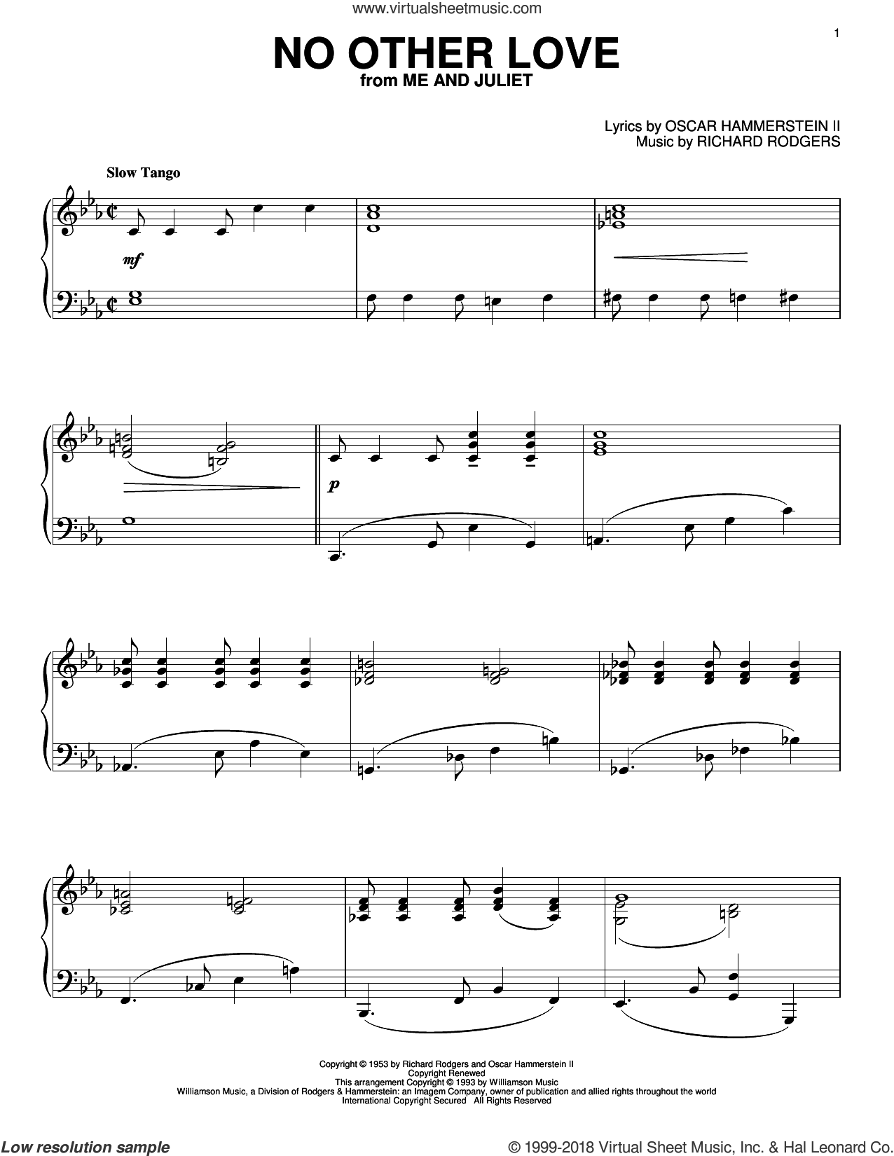 No Other Love sheet music for piano solo by Rodgers & Hammerstein, Oscar II Hammerstein and Richard Rodgers. Score Image Preview.
