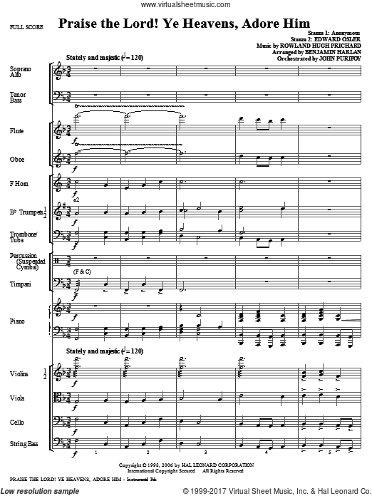 Praise The Lord! Ye Heavens, Adore Him (COMPLETE) sheet music for orchestra by Rowland Prichard