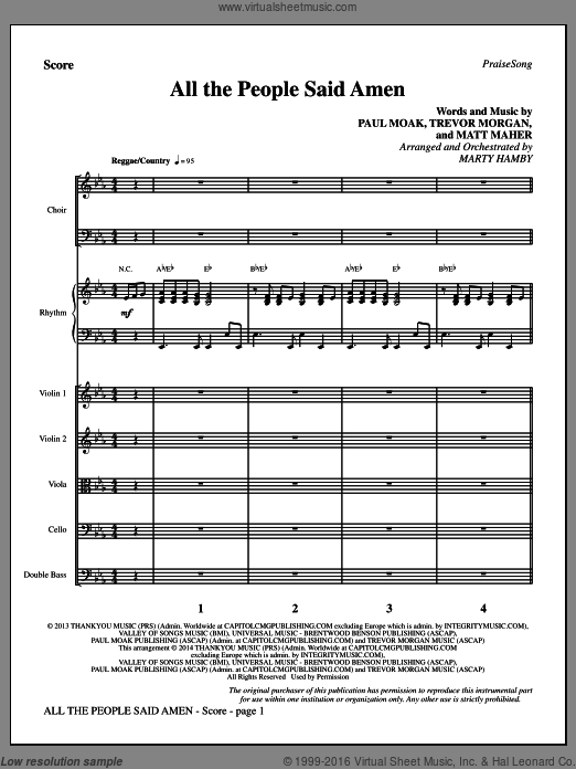 All the People Said Amen (COMPLETE) sheet music for orchestra by Marty Hamby, Matt Maher and Trevor Morgan. Score Image Preview.