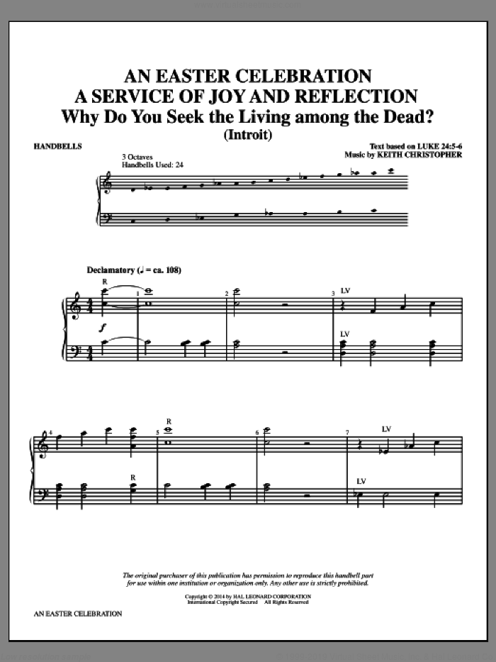 An Easter Celebration sheet music for percussions (handbells) by Keith Christopher, Christopher Wordsworth, Edward Hodges and Ludwig van Beethoven, intermediate skill level