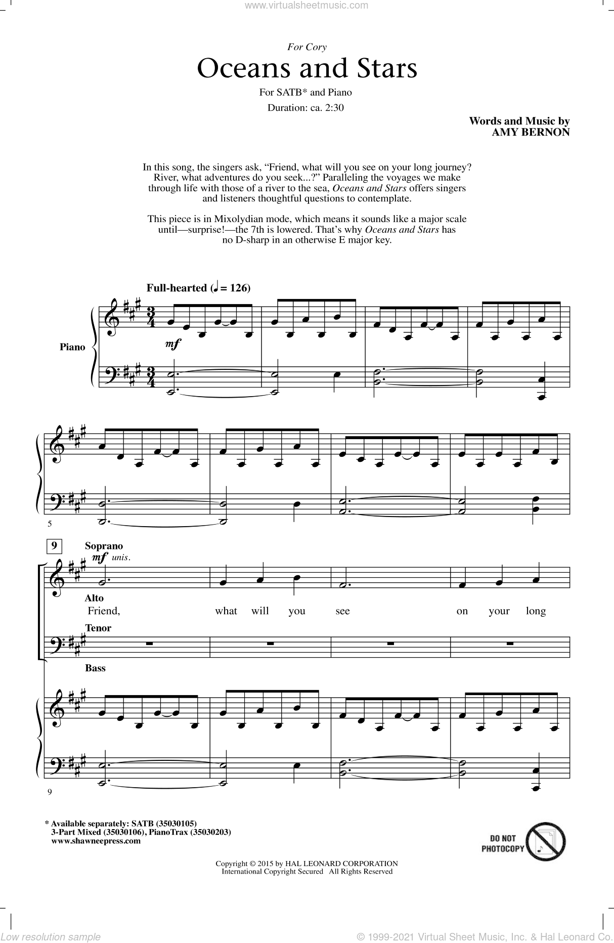Oceans And Stars sheet music for choir (SATB) by Amy Bernon. Score Image Preview.
