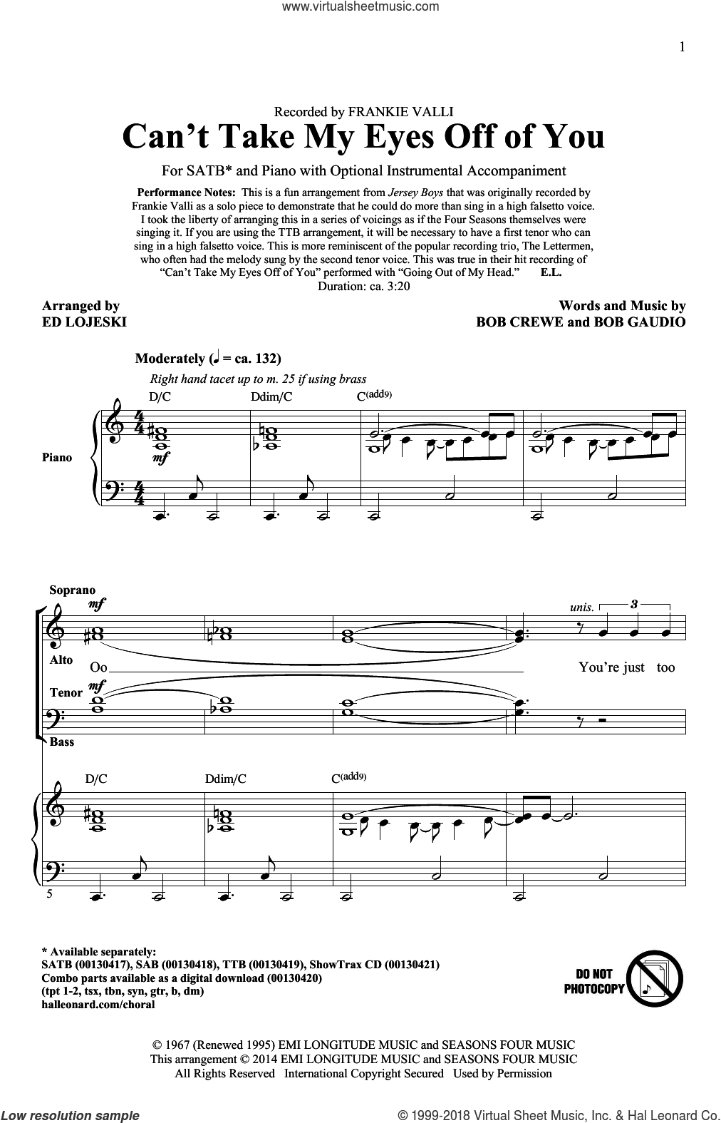 Can't Take My Eyes Off Of You (from Jersey Boys) (arr. Ed Lojeski) sheet music for choir (SATB: soprano, alto, tenor, bass) by Bob Crewe, Ed Lojeski, Frankie Valli, Frankie Valli & The Four Seasons, The Four Seasons and Bob Gaudio, intermediate skill level
