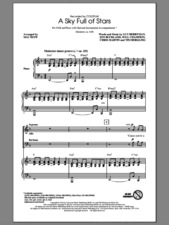 A Sky Full Of Stars sheet music for choir (SAB: soprano, alto, bass) by Mac Huff, Coldplay, Chris Martin, Guy Berryman, Jon Buckland, Tim Bergling and Will Champion, intermediate