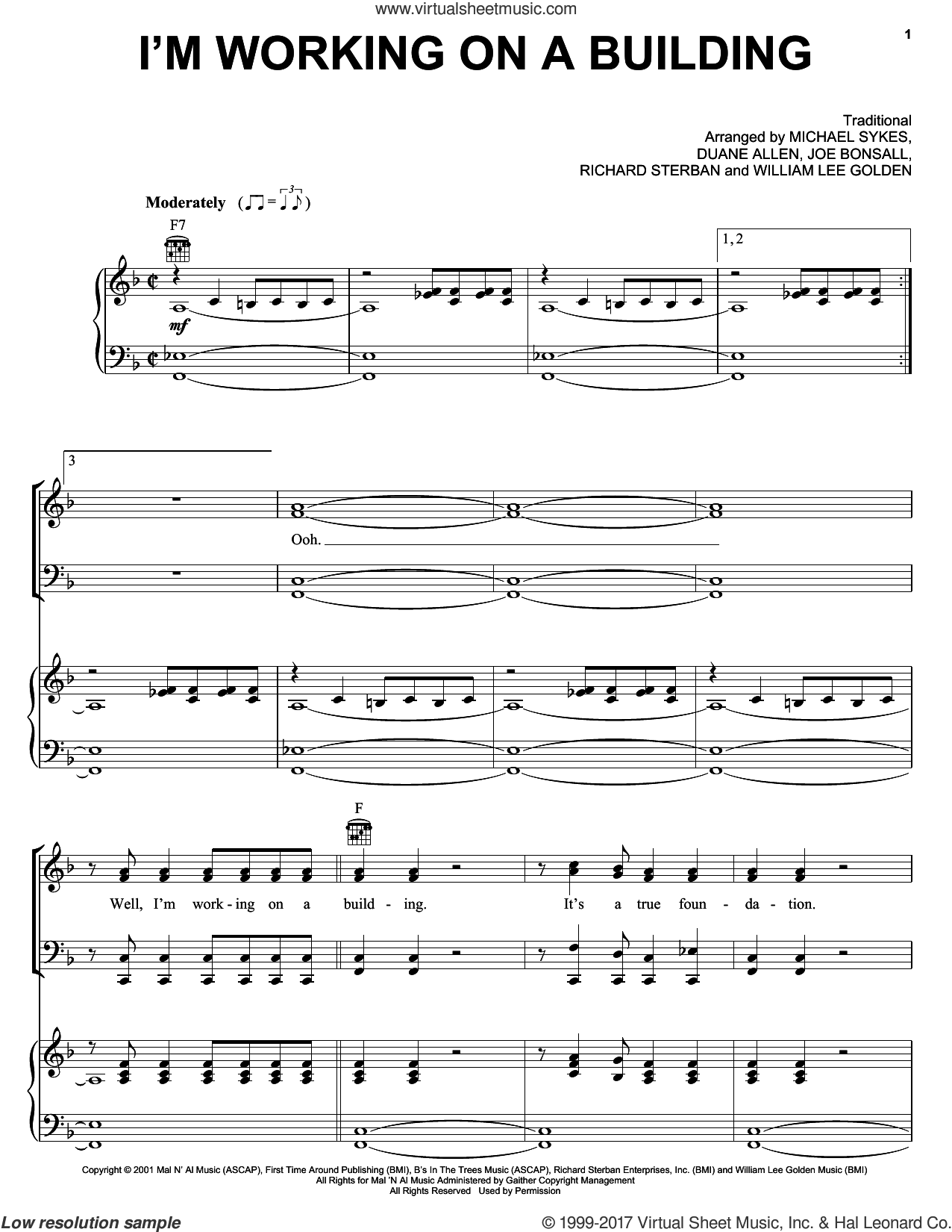 I'm Working On A Building sheet music for voice, piano or guitar by Oak Ridge Boys and The Oak Ridge Boys, intermediate. Score Image Preview.